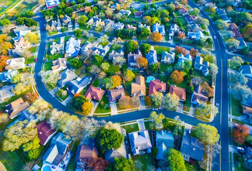 aerial view of houses in suburban community